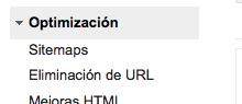 Sitemaps en WMT de Google (Menú lateral)