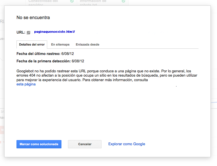 Detalle de error 404 WMT