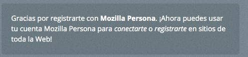 Cuenta creada en Mozilla Persona