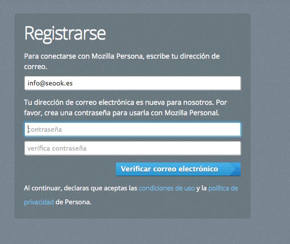 Introducir contraseña de Mozilla Persona