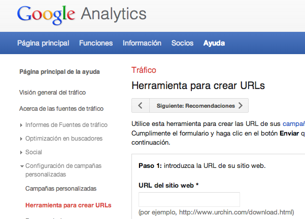 Etiquetado de URLs para Google Analytics